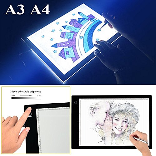 A3 A4 LED Grafiktablett Lightbox Touchpad Bleistift Skizze Animation (A4) (Bamboo Touchpad Wireless)