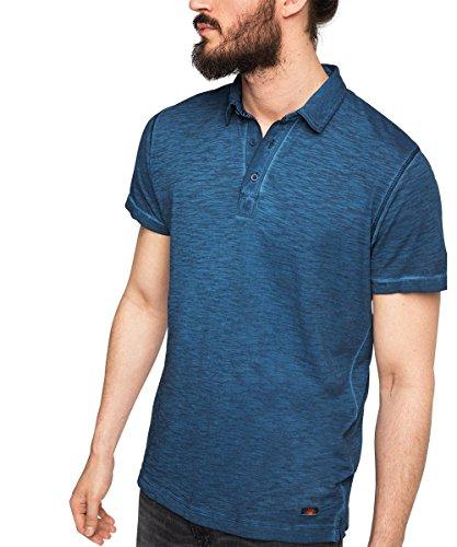 ESPRIT aus Baumwoll Jersey - Slim Fit-Polo Uomo    Blu (Nave 400) Medium