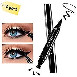 Lápiz de ojos, Eyeliner Stamp, preciso, 2 en 1 Liquid Delineador Pluma & Sellos, 2 Delineador líquido de ojos, larga duración, resistente al agua, negro (8mm)