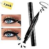 Eyeliner con effetto alato, 2 penne a doppio lato, eyeliner con liquido nero,impermeabile anti sbavatura, per effetto ali e occhi di gatto by WONTECHMI (8mm)
