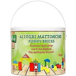 Legnoland- Secchiello Costruzioni Legno Colorati, 50 Pezzi, Multicolore, 35503