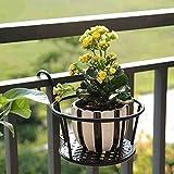 CJH Balkon Blumen Racks Eisen Zaun Hängende Töpfe Geländer Hanging Meat Fusilli Grüne Rübe Bonsai Blumenregal 3 Pack
