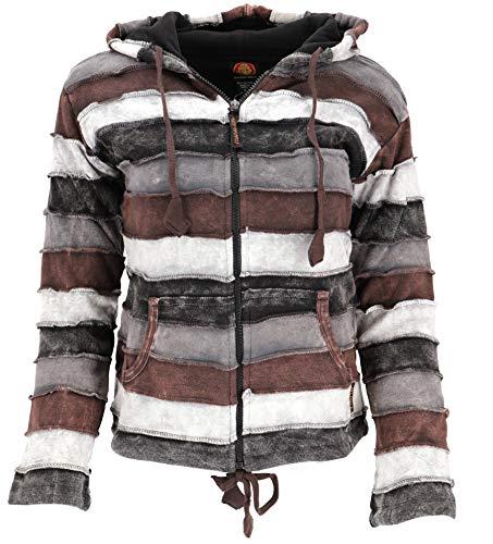 Guru-Shop Goa Patchwork Jacke mit Zipfelkapuze, Damen, Braun, Baumwolle, Size:M (38), Boho Jacken, Westen Alternative Bekleidung