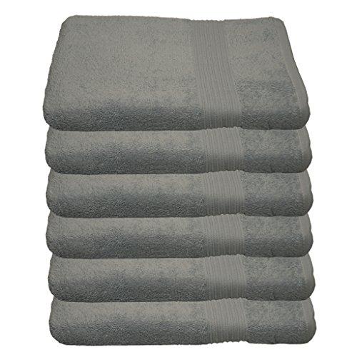6er Pack Handtuch Julie Julsen in 29 Farben erhältlich weich und saugstark 500gsm Öko Tex 50 x 100 cm Silbergrau B-Ware