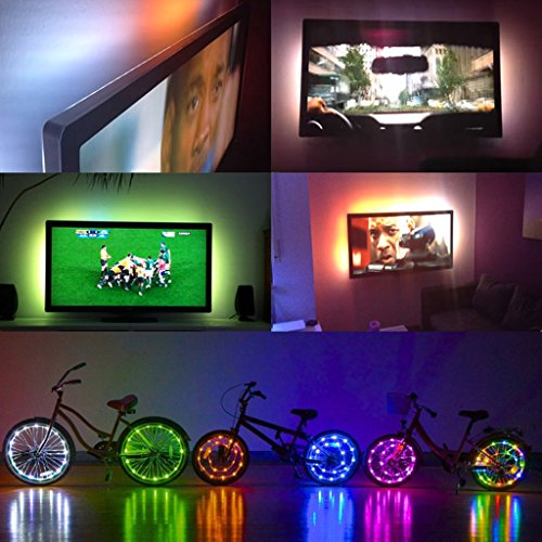 XXguang Flexible LED Strip Light,5V 3528 RGB USB 30 LED/M TV Back Lighting Kit+3 Key RGB Controller Non Waterproof