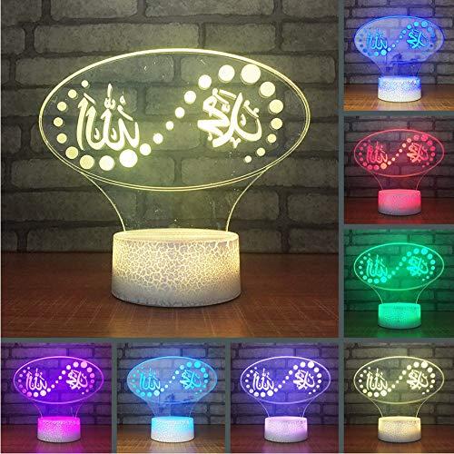 Meaosyy 3D Usb Visuelle Led Islam Nachtlichter Touch-Taste Bunte Gott Allah Segnen Quran Arabische Leuchten Kinder Geschenke Tischlampe (Quran-arabischen)