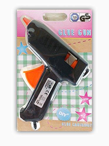 Heißklebepistole 40 W Klebepistole mit 2 Patronen Heißklebesticks Transparente Klebesticks Klebepistole (schwarz)