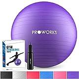 Proworks Gymnastikball 85cm Heavy Duty Sitzball für Sport Physiotherapie Schwangerschaft Yoga Pilates - Fitness Ball für Rückenübungen und Dehnübungen inkl. Pumpe - Lila