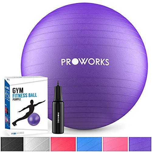 Proworks Gymnastikball 55cm Heavy Duty Sitzball für Sport Physiotherapie Schwangerschaft Yoga Pilates - Fitness Ball für Rückenübungen und Dehnübungen inkl. Pumpe - Lila