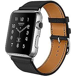 iBazal Compatible con iWatch Series 4 Correa 44mm 42mm Cuero Piel Pulseras Brazaletes Bandas Reemplazo Series 4 Series 3 Series 2 Series 1 Hombres Mujeres Reloj Inteligente Bands - Negro 42/44