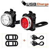 Led Fahrradlicht Set, Wiederaufladbares USB Fahrrad licht Vorne Fahrrad Rücklicht Set, Wasserdicht LED Fahrradlampe Kinder Fahrradbeleuchtung mit Aufladbar 650mAh Akku, 4 Licht-Modi, 2USB-Kabel