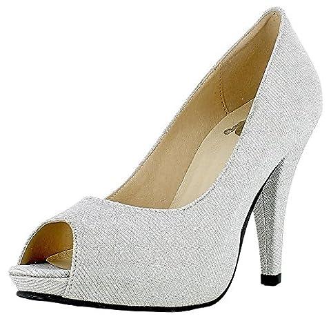 Glitzer Peeptoe Damen Schuhe - Silber Gr. 39