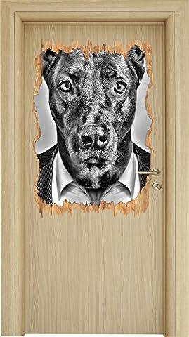 Monocrome, bois de costume chien directeur percée dans 3D apparence, la taille de la vignette mur ou de porte: 92x62cm, stickers muraux, sticker mural, décoration