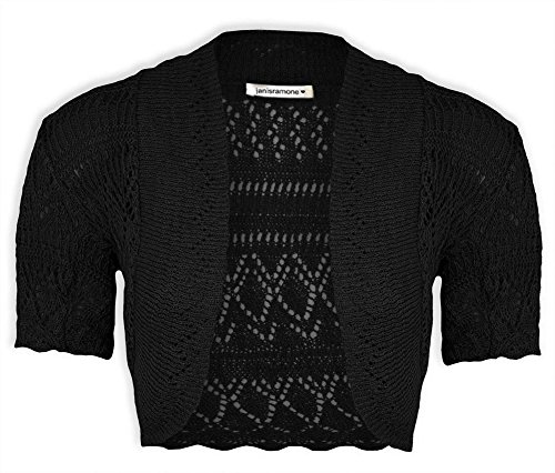 New Girls Kids Short Sleeve Crochet Knitted Bolero Shrug Ladie Cardigan Crop Top Schwarz