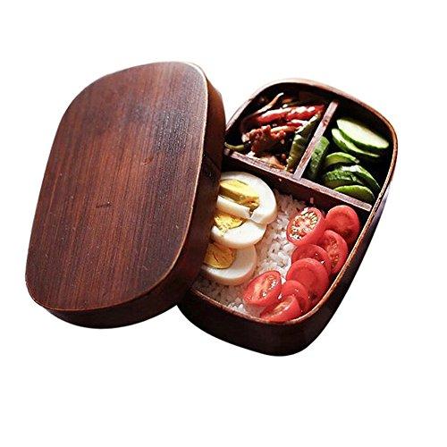Lifemaison Lunchbox mit Trennwand Kinder Erwachsene Bento Box Japanische Style Holz Food Box Mittagessen Container Aufbewahrungsbehälter