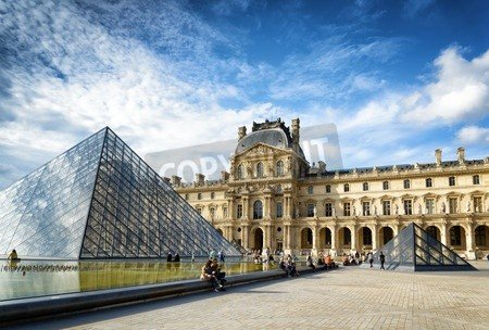 """Poster-Bild 40 x 30 cm: """"PARIS, FRANCE - AUGUST 13, 2014: The view of the Passage Richelieu and the Pyramid of the Louvre. The Pyramid serves as the main"""", Bild auf Poster"""