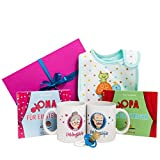 Geschenk für Oma und Opa mit zweimal Buch, zweimal Tasse, Lätzchen und Schnuller - Buch Oma werden für Einsteiger und Buch Opa werden für Einsteiger - süße Lieblingsoma und Lieblingsopa Tasse - werdende Oma und Opa Geschenke - tolles Geschenkset für Großeltern - Geschenkidee für Oma und Opa in bunter Geschenkbox- frischgebackene Großeltern Geschenk
