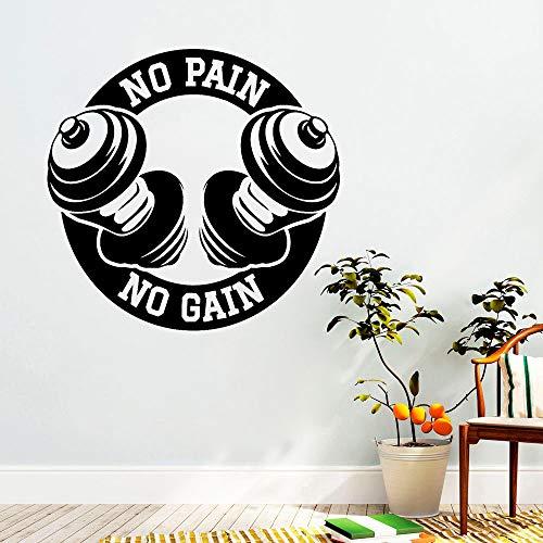 PAIN NO GAIN Vinyl Wandtattoo Schlafzimmer Home Interior Decor Sport Fitness Kunst Aufkleber Home Gym Dekorieren62x57 cm ()