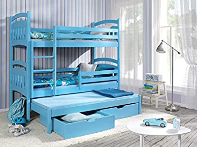 Ye Perfect Choice JACOB 3 Children Triple Bunk Bed - Pine Wood - 24 Colours - 2 Sizes - 4 Types of Mattresses