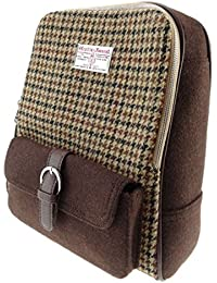 3978c0f44e8c Unisex Brown Houndtooth Square Check Harris Tweed Backpack LB1013 - made in  Scotland by Glen Appin