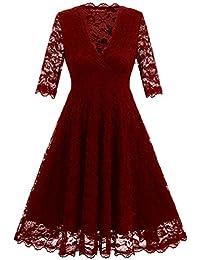 4928d1b1eb80 YiLianDa Donna Vestiti in Pizzo Manica Corta V Collo Corto Eleganti Abito  da Sera Slim Camicia Vestito Abiti Partito…