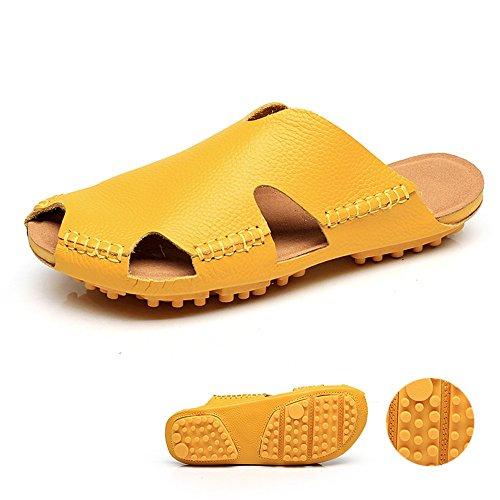 Estate Sandali Pantofole di Baotou del piede morbido maschio / femmina Pattini freddi delle pantofole delle coppie (nero / marrone / dentellare / rosso / bianco / giallo) Colore / formato facoltativo Giallo