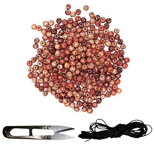 Kurtzy Holzperlen (302 Stück) - Bemalte Holzperlen (17mm, 12mm, 10mm) mit Elastischen Schnur und Fadenschere - Natürliche Gemalt Perlen für Schmuck Herstellung, Haar Handwerk - Runde Lose Perlen