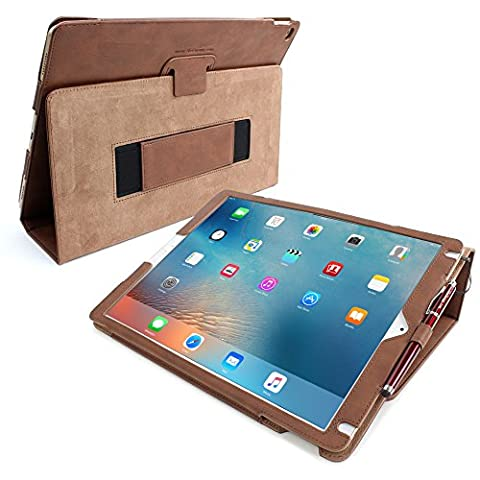 iPad Pro 12.9 (2015) Case, Snugg - Brown Leather Smart Case Cover [Lifetime Guarantee] Apple iPad Pro 12.9 (2015) Protective Flip Stand Cover with Auto Wake / Sleep