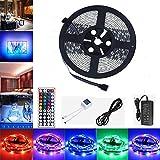 LED Strip 5m, GHONLZIN LED Streifen LED Band 5M 5050 RGB 150 LEDs mit Fernbedienung 44 Tasten IR für beleuchtung und Küche, unter Schrank, Terrasse, Balkon, Party und Haus Deko