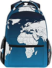 COOSUN Mapa del Mundo Mochila Casual Escuela Mochila Bolsa de Viaje