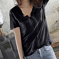 SHENHAI Camiseta manga corta para mujer, suelta, estilo sólido de verano, negro, XL