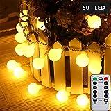 LED Lichterkette Globe Warmweiß, 5M 50LEDs Lichterkette mit batterie, Innen- und Außen Lichterkette Glühbirne, Lichterkette glühbirnen mit 8Modi und Timer für Weihnachten Hochzeit Party Weihnachtsbaum