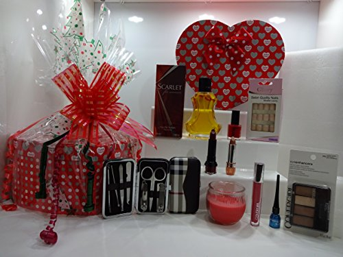 Noël vente ~ Boîte cadeau de luxe Panier cadeau pour elle - 10pc Make Up + Bougie + ongles kit de manucure et parfum pour femme Panier cadeau pour elle... 333...