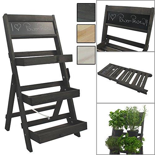 Escalier pour pots de fleurs en bois FSC® avec tableau pour faire des annotations - Bois impregné et résistant aux intempéries et durable, Couleur:Anthracite