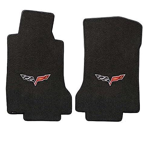 2005-2007.5 C6 Corvette Driver & Passenger Floor Mats Set; Black / Ebony Velourtex Fabric with Crossed Flags Logo Embroidery by Lloyd Mats