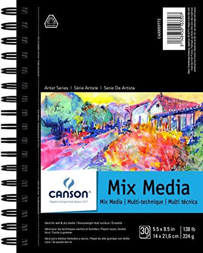 Canson Mix Media SpiralblockPad, 14x 21,6cm 30Blatt -