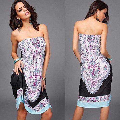 Culater® Chic Femmes Impression Beachwear Robe d'été Cover Up Noir