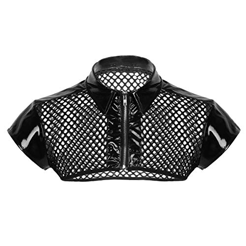 Weste Kostüm Leder - YiZYiF Herren Brustgeschirr Harness Netz Unterhemden Leder Crop Top Weste Erotik Dessous Reizwäsche Herren Kostüm Punk Clubwear Schwarz Large
