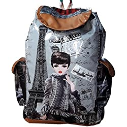 Heena Fashion Girls Stylish Printed Beautiful Messenger College Backpack With Double Pocket Material P,U, Leather H-020