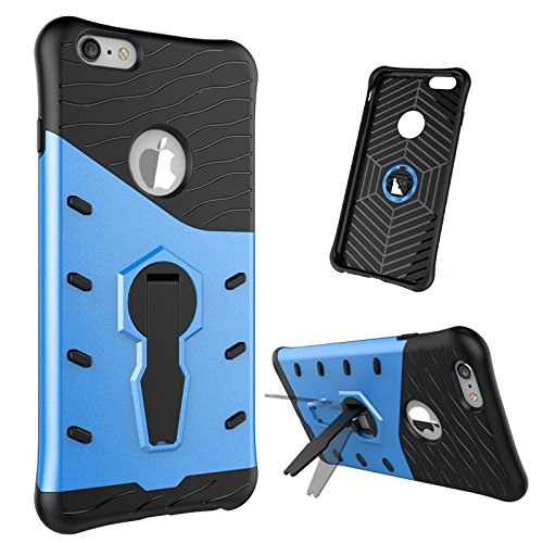 iPhone Case Cover 2 in 1 Neue Armour Tough Style Hybrid Dual Layer Armor Defender PC Hartschalen mit Ständer Shockproof Fall für iPhone 6 plus 6s plus ( Color : Black , Size : Iphone 6s Plus ) Blue