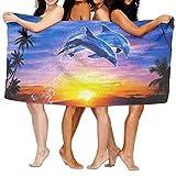 Decams Badetücher, sehr saugfähiges Mikrofaser-Strandtuch für Herren, Damen, Kinder, Delfin-Picknick-Matte