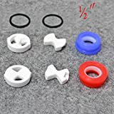 """Seawhisper Set of Replacement ceramic disc & silicon washer insert turn 1/2"""" for valve Tap"""