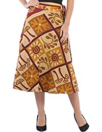 Exotic India Wrap-Around Casual Stone-washed Midi Skirt With Printed Palm Trees