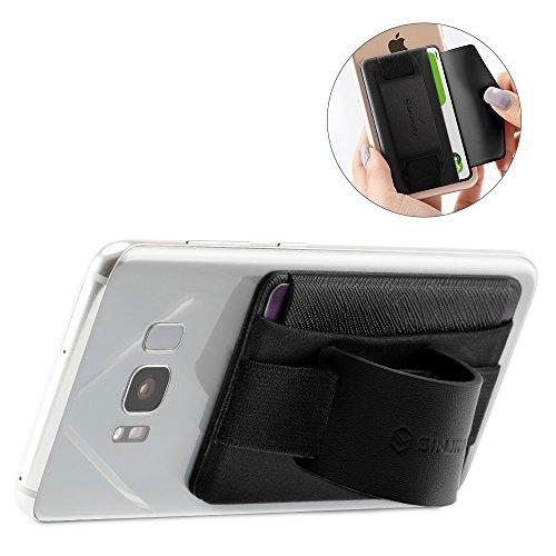 Sinjimoru Fingerhalterung und Handy Ständer mit Kartenhalter/Smartphone Kartenetui, Handygriff und aufklebbare Geldbörse in Einem, Smart Wallet für iPhone und Android. Sinji Pouch B-Grip, Schwarz.