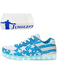 (Present:kleines Handtuch)Schwarz EU 35, Unisex-Erwachsene für High Herren mode Sportschuhe Kinder LED Sneaker Farbe Sport Top Turnschuhe Aufladen USB Sch