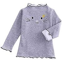 cinnamou Herbst Winter Kinder Mädchen Scherzt Niedliche Karikaturkatze RüSchen-T-Shirt-Kleidung Tops
