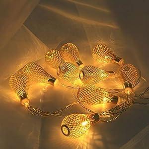 1.5M LED Lichterkette Warmweiß für Zimmer Deko, Dapei 10er Kunststoff Glühbirne LED Kupfer Drahtlichterkette Batteriebetrieben für Weihnachten Halloween Hochzeit Party Innen Deko