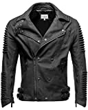 Crone Herren Lederjacke Echtleder Premium Biker Jacke mit vielen Details und Zippern 100% bestes echtes Schafs-Leder in 3 Farben (Matt Schwarz, S)