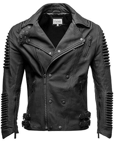 *Crone Herren Lederjacke Echtleder Premium Biker Jacke mit vielen Details und Zippern 100% bestes echtes Schafs-Leder in 3 Farben (Matt Schwarz, L)*