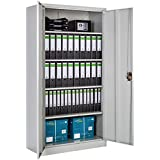 TecTake Armario archivador de oficina metálico con 2 puertas bloqueable e 4 estantes 180x90x40cm